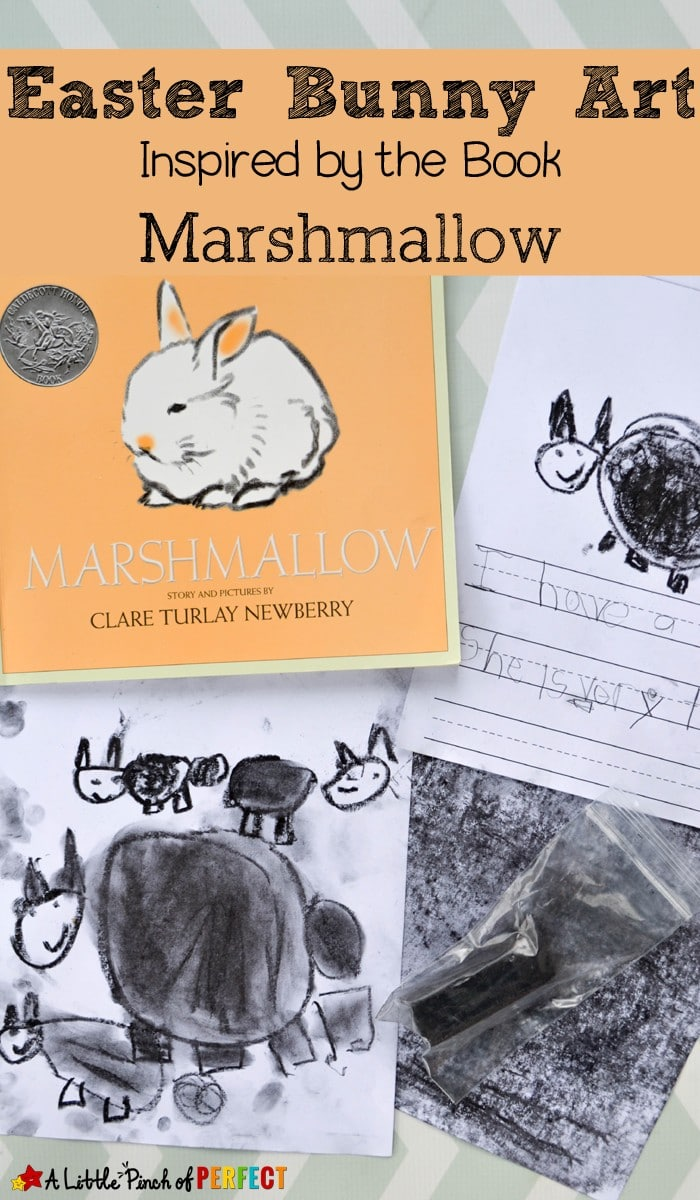 Easter Bunny Art for Kids Inspired by the Book Marshmallow: A fun art activity for kids and ideas for a poetry and writing activity. (Friendship, Preschool, Kindergarten, Spring, April)