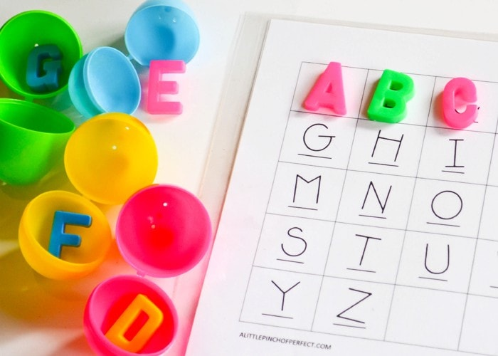 ABC Easter Egg Alphabet Hunt for Kids: Send kids on an Easter Egg hunt to help them learn their letters. It's amazing how motivating a little plastic egg can be! (Preschool, Kindergarten, Toddler)