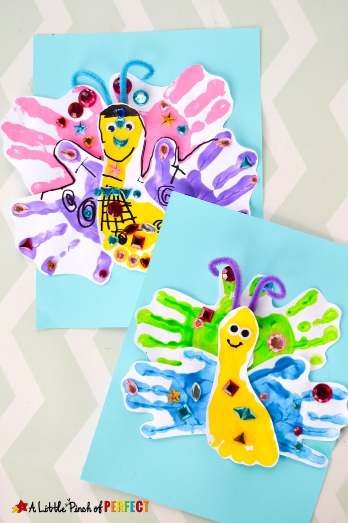 Adorable Handprint and Footprint Butterfly Craft: Kids can paint and decorate a beautiful butterfly made with their own hands and feet. They are perfect to make during spring, add to an insect unit, or even turn into a card for Mother's Day. (preschool, toddler, keepsake, painting)