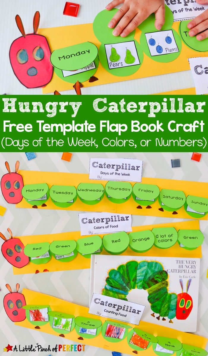 Hungry Caterpillar Flap Book Craft and Free Template: 3 craft templates for kids to practice the days of the week, counting to 5, or naming colors. (Preschool, Kindergarten, First Grade, Spring, Bugs, Book Extension)