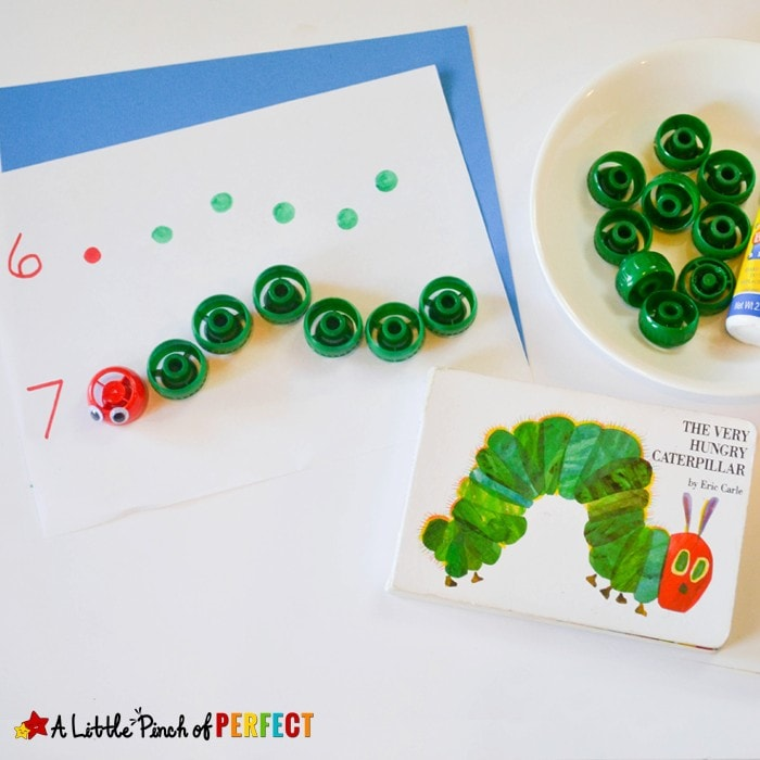 Counting Caterpillars Math Activity Inspired by the Hungry Caterpillar: This simple math activity is great for your preschooler and kindergartner to practice counting and fine motor skills.