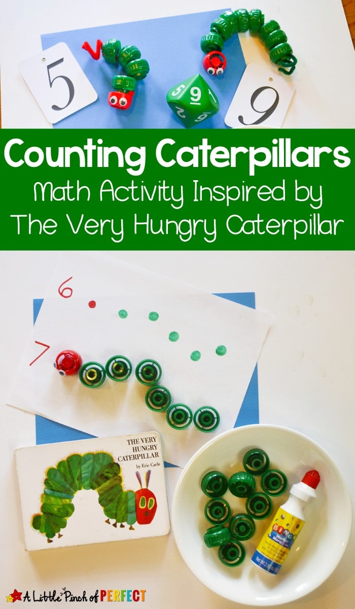 Counting Caterpillars Math Activity Inspired by the Hungry Caterpillar: This simple math activity is great for your preschooler and kindergartner to practice counting and fine motor skills. (Eric Carle, Spring, Book Extension)
