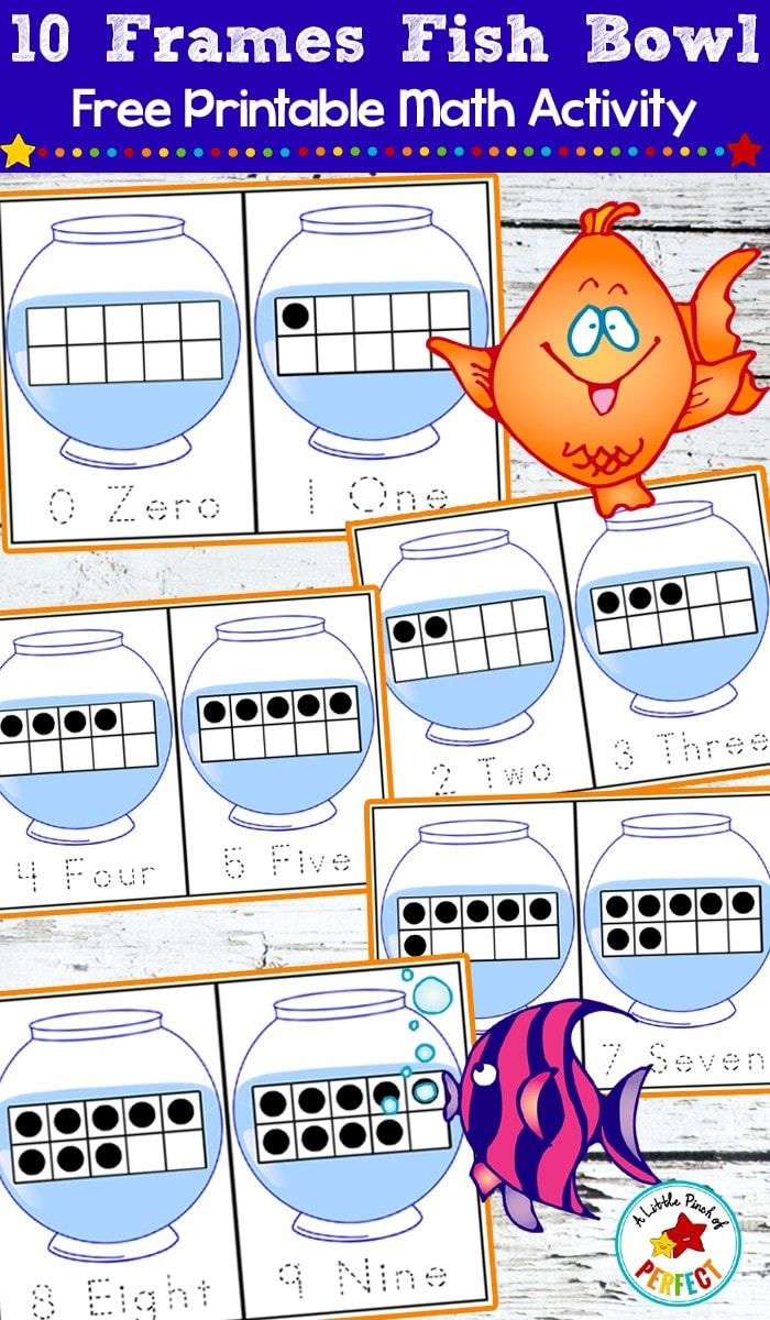 10-Frames Fish Bowl Math: Free Printable Counting Cards--Kids can learn number recognition, counting, and subitizing while having fun with fish in a fish bowl. Use with mini erasers, goldfish crackers, or other hand on manipulatives. (Preschool, Kindergarten, Pets, Ocean)