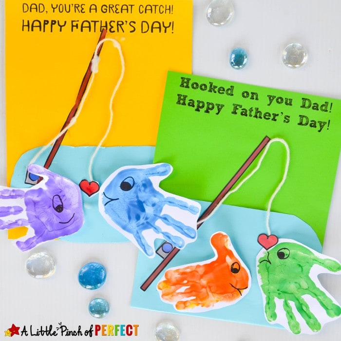 Happy Father's Day Handprint Fish Craft: Kids can make Dad or Grandpa an adorable Father's Day Card using our Free Template. Dad will be O-Fish-ally Happy.