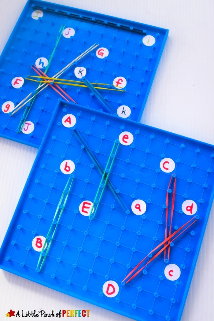 Geoboard Letter Match: With a little prep your preschooler or kindergartner can match uppercase and lowercase letters as they learn the alphabet and work on fine motor skills.