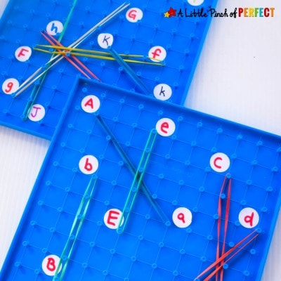 Geoboard Letter Match Activity for Learning Letters
