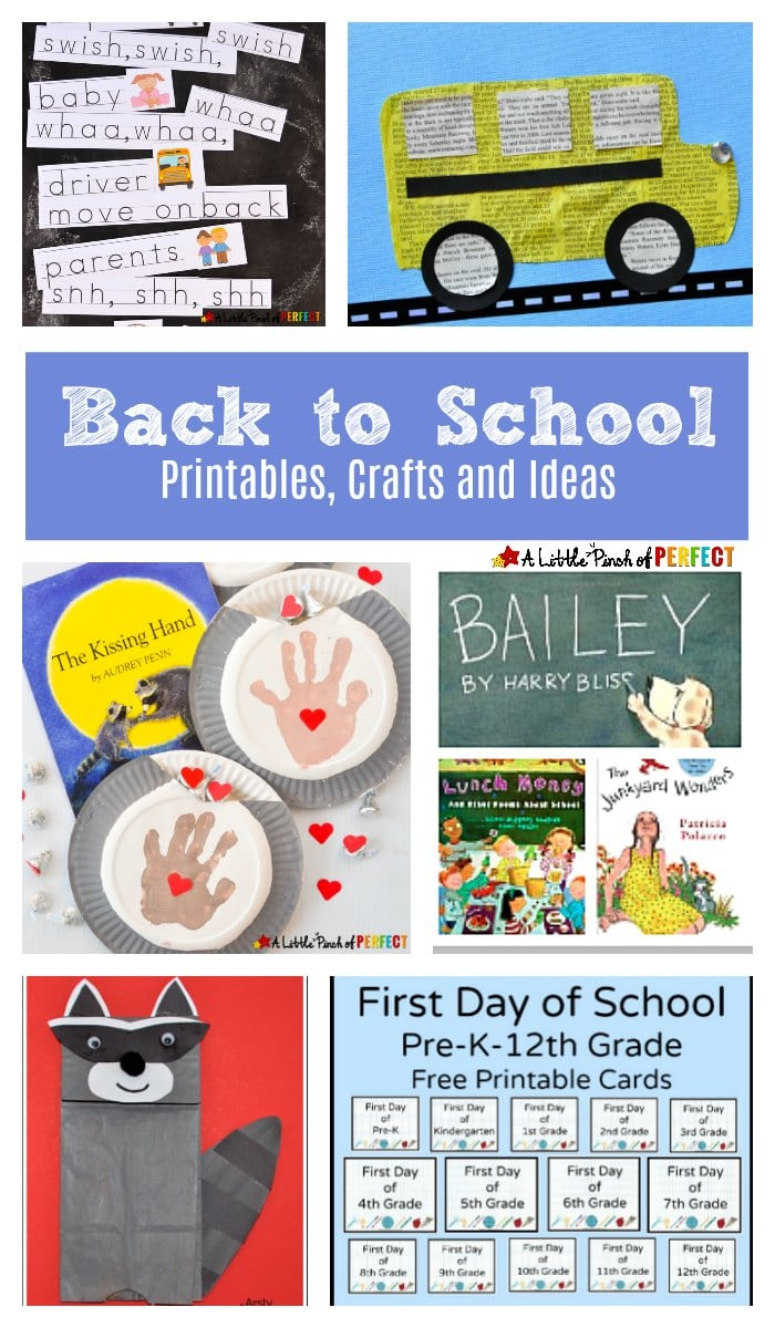 A wonderful list of Back to School free printables, crafts and ideas for kids (Preschool, Kindergarten, First Grade)