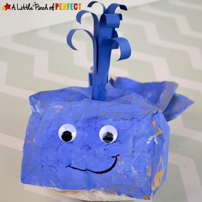 Kids learn about Blue Whales as they make a cute paper bag craft using our free template. They can also watch a video and do a hands on activity to learn how blue whales eat.