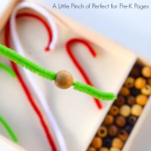 Candy Cane Fine Motor Skills Activity for Kids (December, Preschool, Kids Craft)