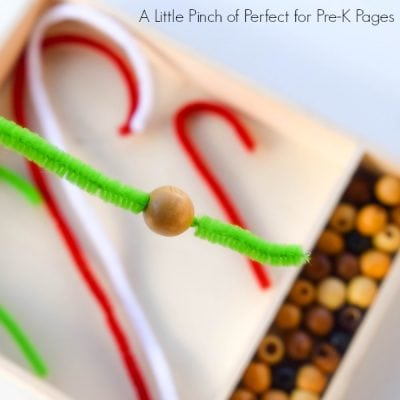 Candy Cane Christmas Fine Motor Skills Activity for Kids