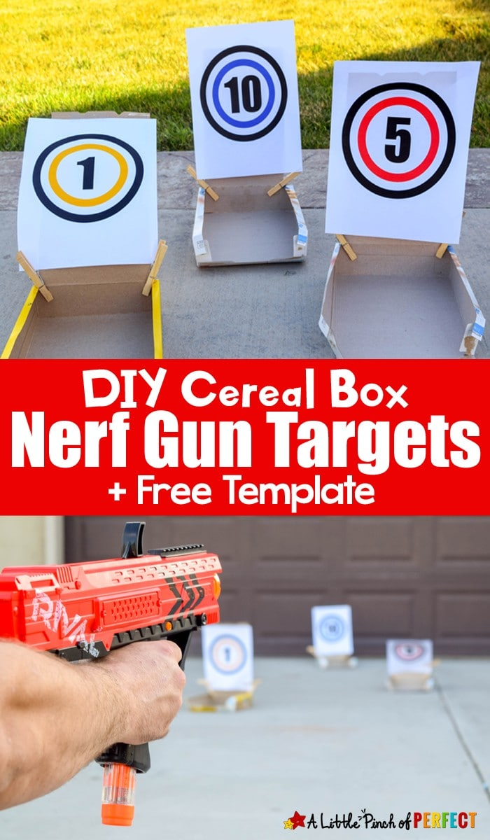 DIY Cereal Box Nerf Gun Targets and Free Template: Grab your Nerf guns and get ready to take aim at your new homemade cereal box targets following our easy directions and using our free target template. (Kids Activity, Summer, Party, Play)