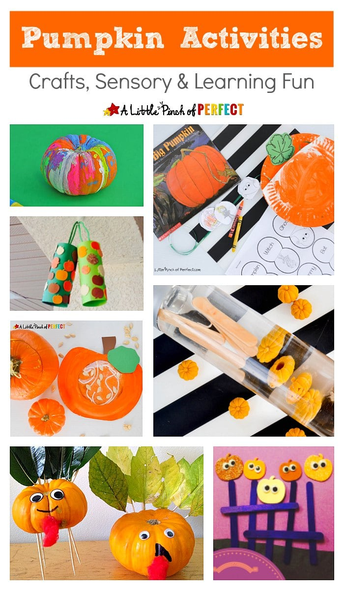 Fall is around the corner and we have put together a wonderful list of pumpkin activities! We included crafts, sensory activities and learning fun that kids will love enjoying the season with. Take a look!