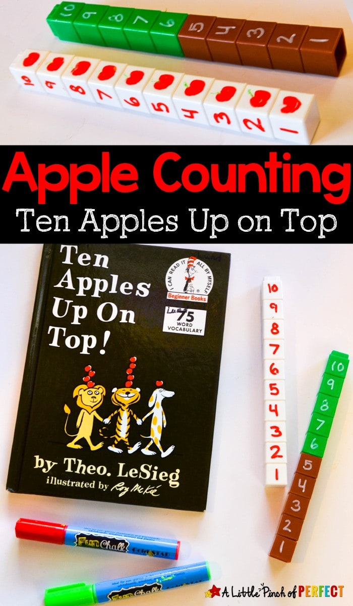 Children can enjoy reading Ten Apples Up On Top by Dr. Seuss books and then have fun counting and learning numbers with this simple math activity. (fall, book extension, preschool, kindergarten)