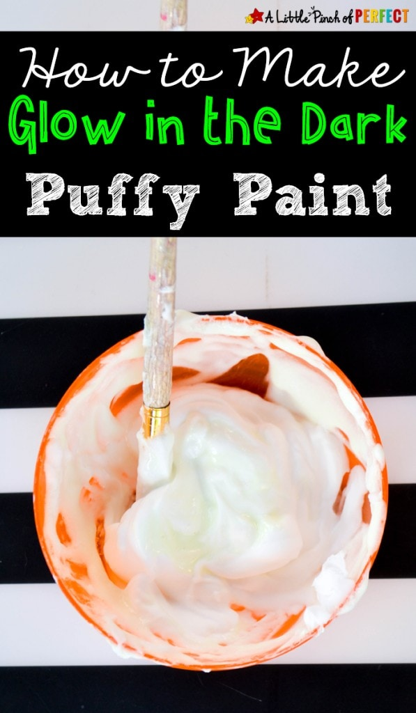 Glow in the Dark Puffy Paint Ghost and Free Craft Template: Our glow in the dark puffy paint is super easy to whip up and makes the coolest Halloween crafts with the kids. Once dry, children's artwork will glow when the lights are turned off