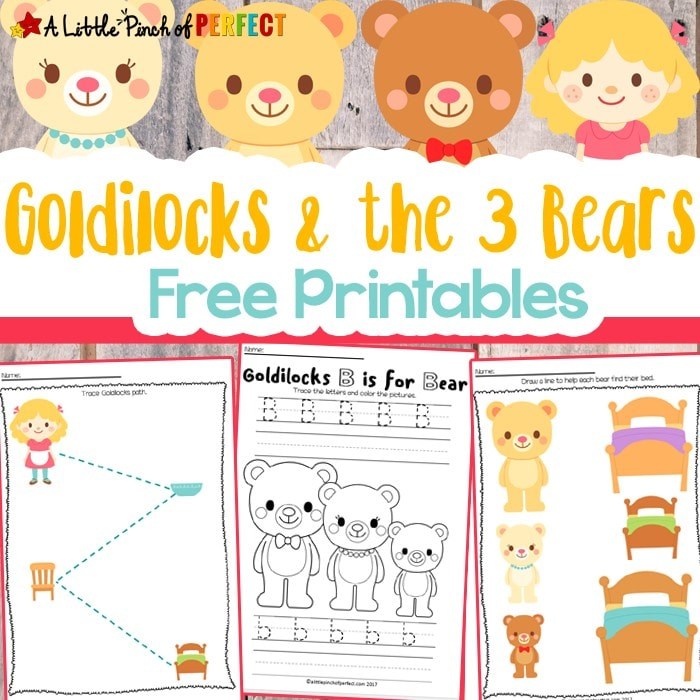 Children can take a closer look into the classic fairy tale, Goldilocks and the Three Bears, with our free printable activities. The 13 page printable set includes pages for pre-writing, letters and number, sorting, and more!