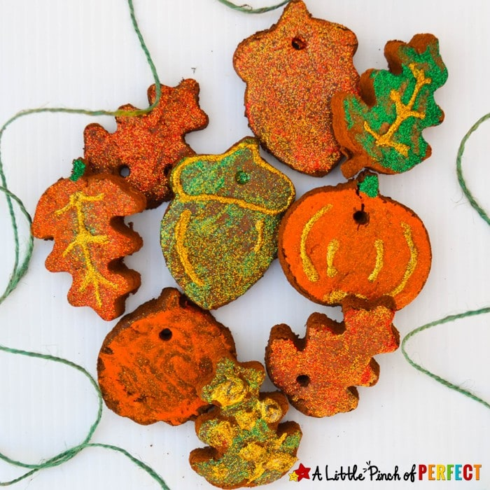 Kids can make pretty pumpkin and leaf cinnamon ornaments that fill your home or classroom with the warm fragrant smells of autumn. (Kids craft, Fall)