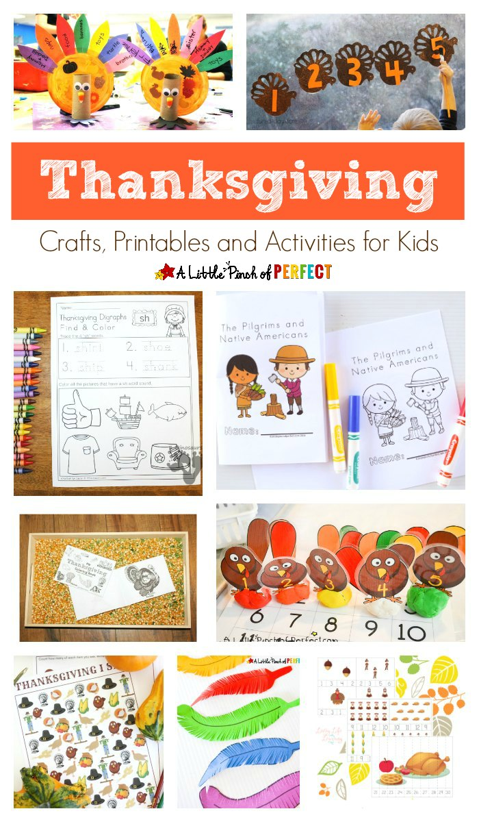 In this post, we share a fantastic list of Thanksgiving Crafts, Printables and Activities for kids to make and enjoy with their family.