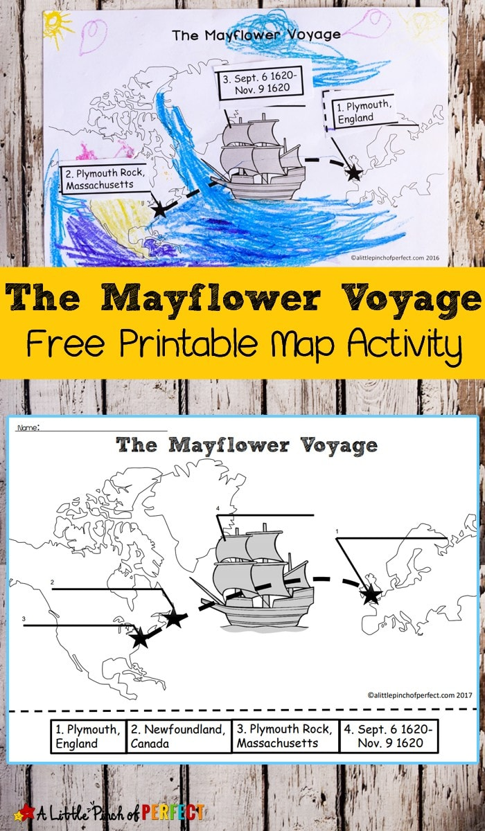 The Mayflower Voyage Free Printable Map Activity: Color, Cut, and Paste history activity for kids that comes in two versions including Newfoundland, Canada, Plymouth, England and Plymouth Rock, Massachusetts (Thanksgiving, November)