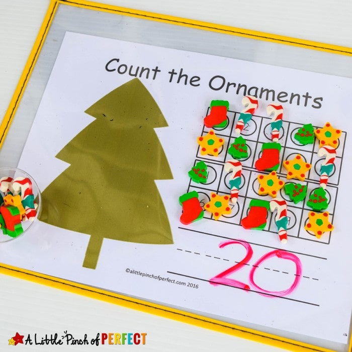 Set of Christmas Tree 10 Frame Math Mats Free Printable: Can be used for counting 1-10, counting 1-20, addition, and subtraction. (Preschool, Kindergarten, First Grade)