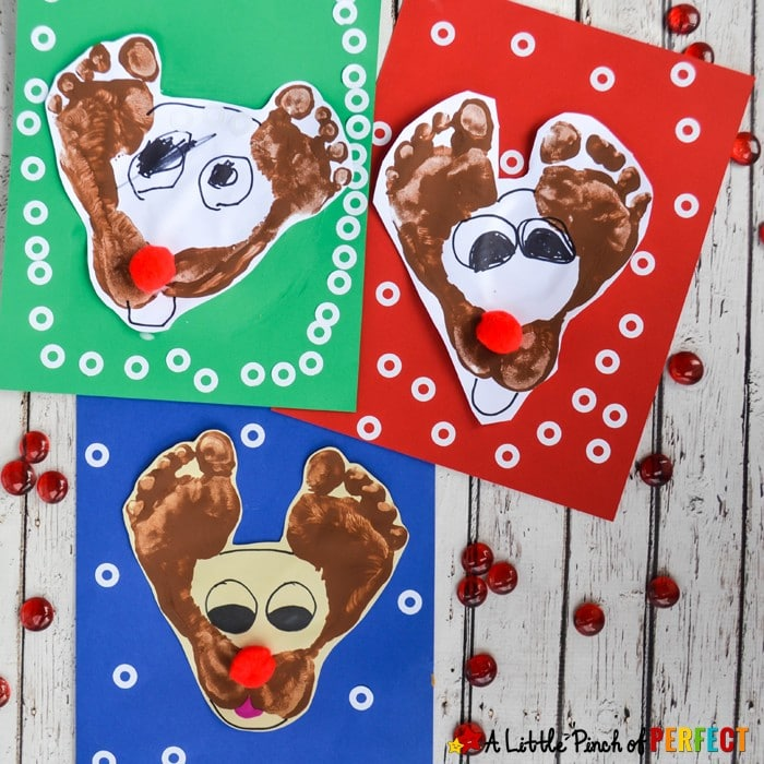 Make a darling footprint Rudolf the Red Nose Reindeer craft with kids this Christmas. They are so easy to make and are certainly cute. #christmas #crafts #preschool #rudolf