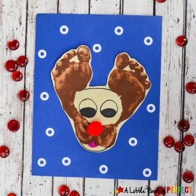 Darling Rudolf the Reindeer Footprint Craft for Kids