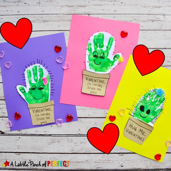 "Kids can make the cutest cactus Valentine's Day craft with our free craft template and their adorable little handprints The templates say ""Hug me"" ""I'm Totally Stuck on You"" ""I Love You!"" and the fourth option has writing lines so kids can write their own message. This craft can be turned into a card. (#Valentines #kidscraft #handprint)"