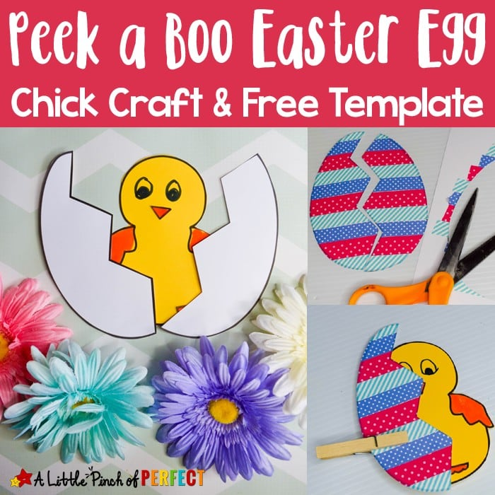 """Peek a Boo Easter Egg Chick Craft and Free Template: Children can make a peek a boo Easter Egg Chick craft with our free template. The egg """"cracks"""" open to reveal the cute chick inside. (#kidscraft #eastercrafts #craftsforkids #kids)"""