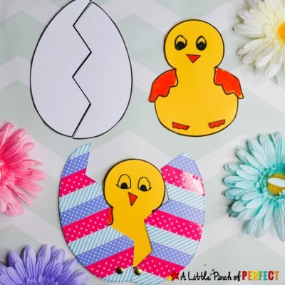 Peek a Boo Easter Egg Chick Craft and Free Template