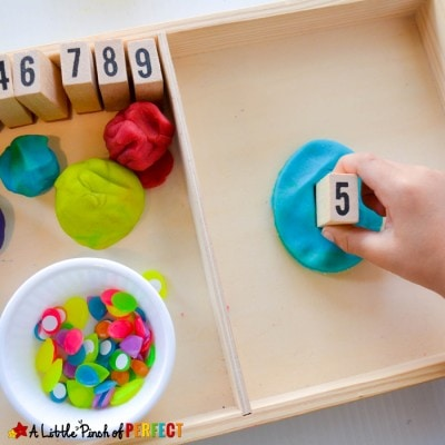 Easter Egg Stamp and Count Playdough Preschool Activity