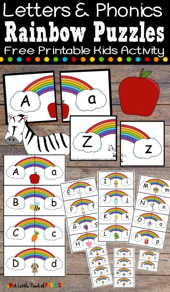 Teach kids letters and phonics with this free printable letter puzzle set. Each lowercase letter is matched with an uppercase letter and picture. This rainbow themed activity is perfect for spring, St. Patrick's Day, or within a weather unit. (#kindergarten #preschool #languagearts #alphabet #phonics #stpatricksday #kidsactivity #homeschool)