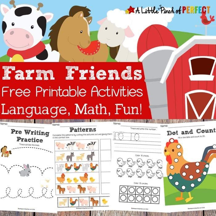 Free Farm Friends Printable Activity Pack: 35 pages of activities for your child to learn math and language including do-a-dot pages, coloring pages, pre-writing activities, pattern cut and paste, counting, and more.