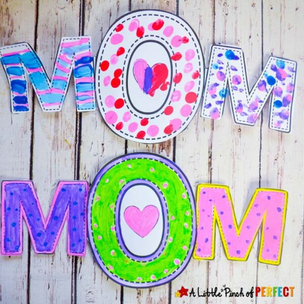 MOM Mother's Day Craft and Free Template for Kids
