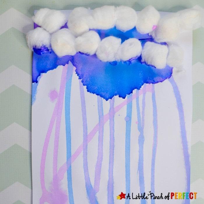 Rain Cloud Gravity Painting for Kids: a fun and easy process art activity (#spring #kidscraft #kidsart #kindergarten #preschool)