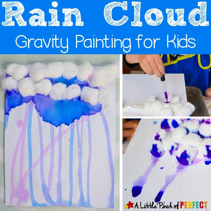 Rain Cloud Gravity Painting for Kids: a fun and easy process art activity (#spring #kidscraft #kidsart #kindergarten)