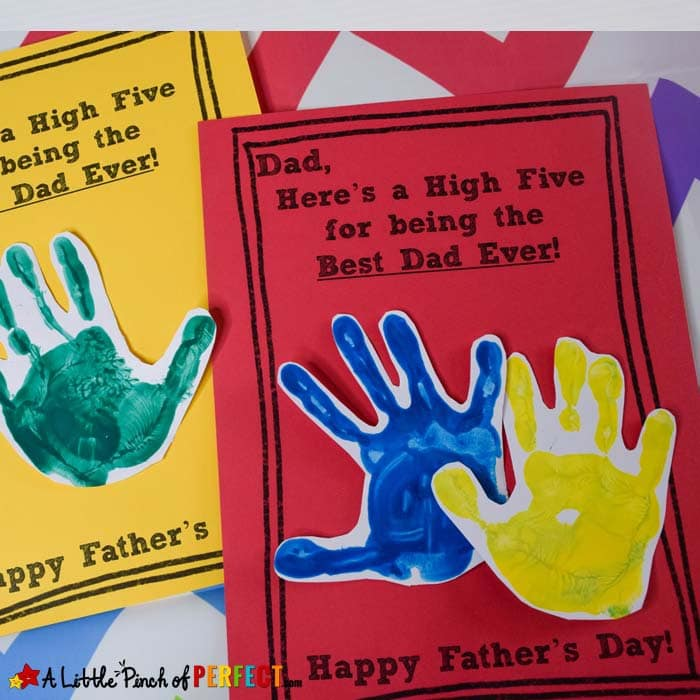 Father's Day High Five Handprint Craft and Free Template (#kidcrafts #crafts #fathersday)