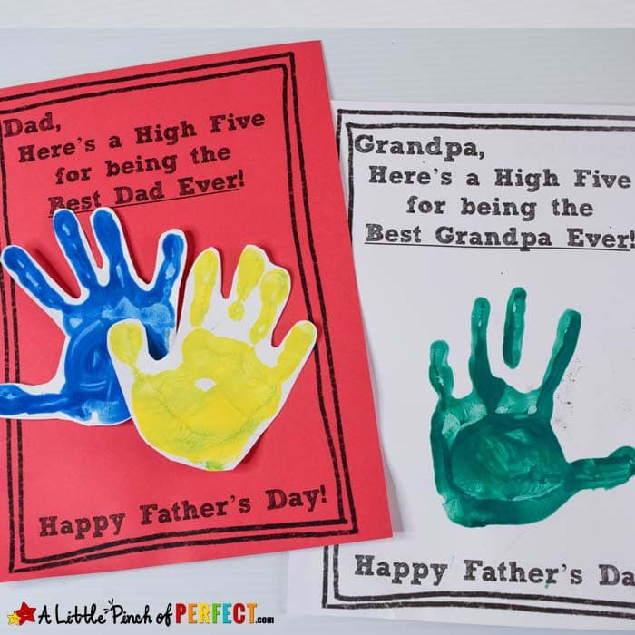 Father S Day High Five Handprint Craft And Free Template