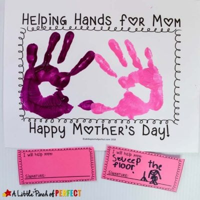 Mother's Day Helping Hands Handprint Craft and Free Template