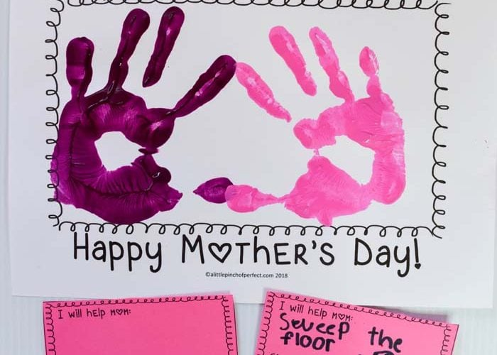 "Mother's Day Helping Hands Handprint Craft for Kids: Includes free template for kids to add their handprints to and ""I will help mom"" cards."