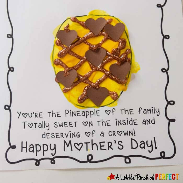 Mother's Day Pineapple Handprint Craft for Kids and Free Template (#mothersday #craft #kidscraft #craftsforkids #preschool)