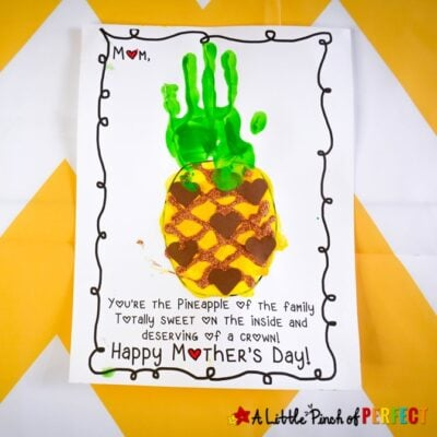 Kids can make an adorable pineapple handprint craft for Mother's Day. Simply print out the free craft template and craft. #kidsactivity #craft #mothersday