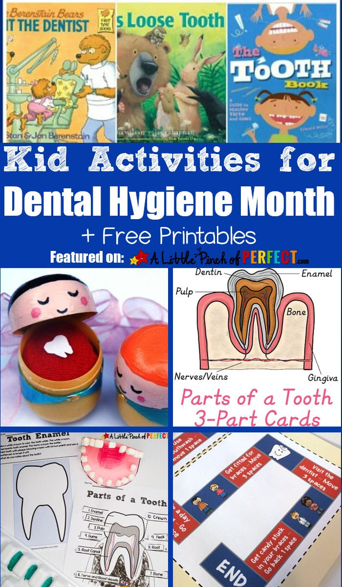 Kid Activities for Dental Hygiene Month: Free Printables, crafts, and more. Perfect for learning about oral hygiene (#kidsactivity #printable #homeschool #firstgrade #kindergarten #preschool)