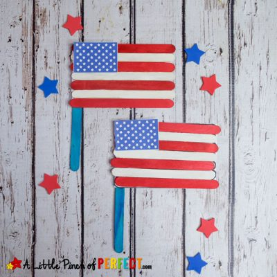 4th of July American Flag Popsicle Stick Craft and Template