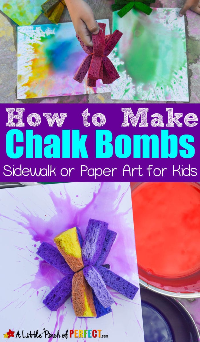 How to Make Chalk Bombs out of Sponges: An ultimate art experience for kids for sidewalks or paper (#summerfun #kidsactivities #boredombusters #kidsart)