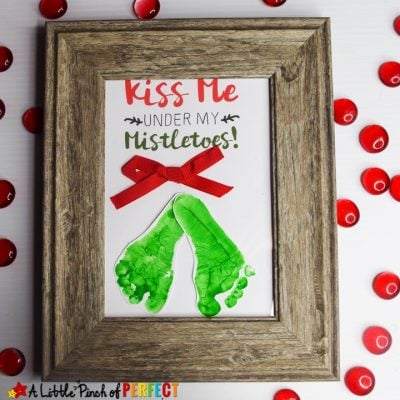 Kiss Me Under My Mistletoe Footprint Craft and Free Template