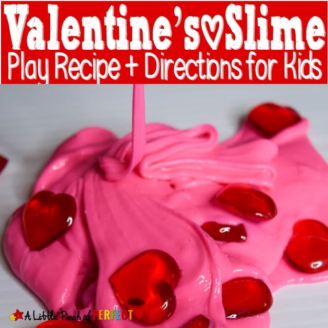 How to make Valentine's Day slime: This slime recipe is soft, stretchy, and not sticky. (#slime #sensoryplay #kidsactivity #valentinesday)