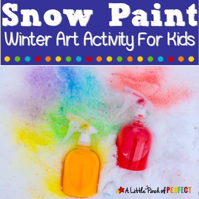 How to make homemade snow paint to paint the snow bright colors (#winter, #kidsactivity #kidscraft)