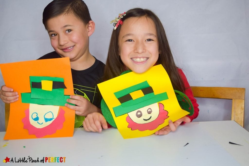 St. Patrick's Day Kids Craft: Download the free template and make a leprechaun craft to celebrate (#kidscraft #craft #preschool #kidsactivity)