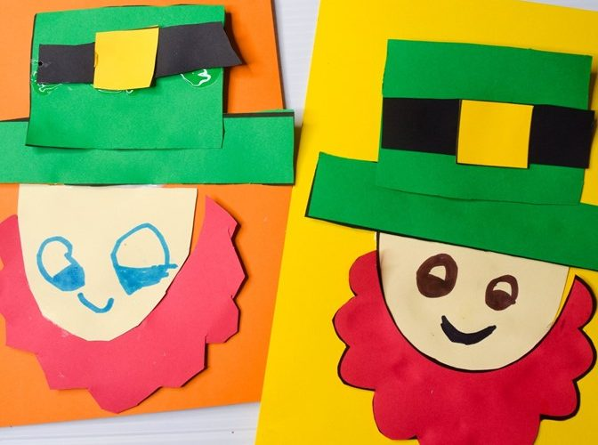 St. Patrick's Day Kids Craft: Download the free template and make a leprechaun craft to celebrate (#kidscraft #craft #preschool #kidsactivity)