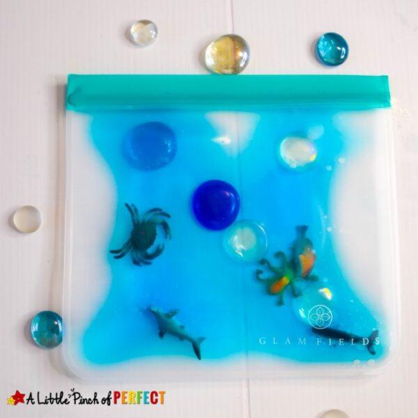How to make an ocean themed sensory bag for kids to enjoy some under the sea fun! (#kidsactivity #toddler #preschool #oceantheme)