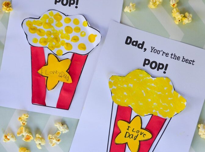 """I Love You Pop Father's Day Craft: Children can make their Dad a cute Father's Day popcorn craft with this free template that says, """"I Love You Pop!"""". #fathersday #kidscraft #craft"""